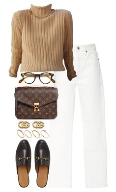 """""""Untitled #5281"""" by theeuropeancloset on Polyvore featuring RE/DONE, Oliver Peoples, Louis Vuitton, Gucci and ASOS"""