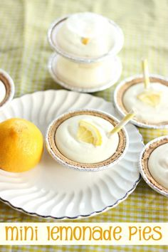 Mini Lemonade Pies. Such and easy dessert recipe and the single servings make them perfect for game day or tailgating.