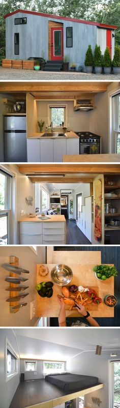 204 sq ft tiny house ♡ I want this one! It's the shape of Little House on the Prairie.AND it's a tiny house Tyni House, Tiny House Living, Small Living, Tiny House Plans, Tiny House On Wheels, Tiny House Shed, Casas Containers, Tiny House Movement, Small Places
