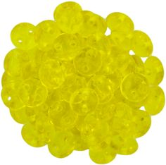 50 CzechMates 6mm Two Hole Lentil Transparent Yellow Beads (80010)