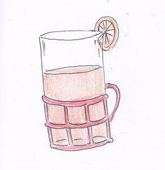 """Przepis na herbatę ze """"Szklanki z koszyczkiem"""": """"Nad szklankami unosił się nad nimi dymek, a po ściankach spływały kropelki pary. Mama wlała do herbaty łyżeczkę miodu, wrzuciła po plastrze pomarańczy i oprószyła szczyptą cynamonu."""""""