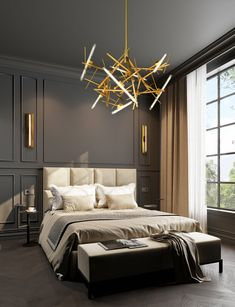 One of our newest contemporary chandelier collections introduced at Salon del Mobile. See all of our must see contemporary lighting and interior designs Modern Classic Bedroom, Modern Classic Interior, Modern Luxury Bedroom, Interior Design Minimalist, Luxurious Bedrooms, Luxury Interior, Home Interior Design, Neoclassical Interior Design, Design Interiors