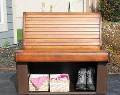 Large Storage Bench   Etsy Large Storage Bench, Wood Stain Colors, Storage Spaces, Small Spaces, Furniture, Vintage, Etsy, Home Decor, Decoration Home