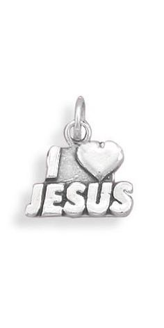 "Oxidized ""I Love Jesus"" Charm"