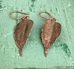 Copper Elm Leaf earrings  Etched Copper Earrings 7th