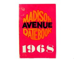 Madison Avenue Datebook 1968 Journal Diary by CollectionSelection, SOLD