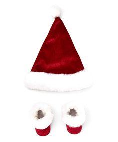 Look at this #zulilyfind! Red Velvet Santa Booties & Hat #zulilyfinds