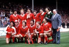 Sport Football Milk Cup Final Wembley London England 26th March 1983 Liverpool 2 v Manchester United 1 The Liverpool team celebrate with the trophy...