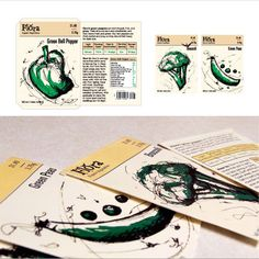 Flora - Created seed packet for an organic seed company using a personal illustration that is expressive and unique. Product is 100% recyclable and printed with soy inks.