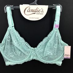 c5eb12139f Candies 36D Juniors Unlined Plunge Bra Green Lace Wings Ballet Back  Underwire  Candies  PlungeBras