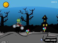 Ayuda a este chico zombies en manejar su moto capturando helados de varios sabores, ten cuidado de car de la moto ya que el camino esta peligroso con grandes piedras.