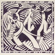 Stepdancing  1937 Linocut on Japanese paper, Edition of 50 Lill Tschudi (1911-2001) was a prominent figure in the Grosvenor School and is known primarily for her color linocut work. Her early work is informed by The Grosvenor School and Claude Flight, employing his formal language to her linocuts and multicolored printing. She later focused on sporting themes as her subjects, often depicting men at work and represented Swiss rural life. After 1945, her style shifted to abstraction.