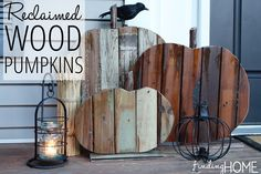 If you are into the wood pallet project craze, you will love these reclaimed wood pumpkins. Get the how to at Infarrantly Creative, and add some junk to your fall decor. Wood Pumpkins, Fall Pumpkins, Fall Projects, Wood Projects, Woodworking Projects, Harvest Decorations, Pumpkin Decorations, Halloween Decorations, Into The Woods