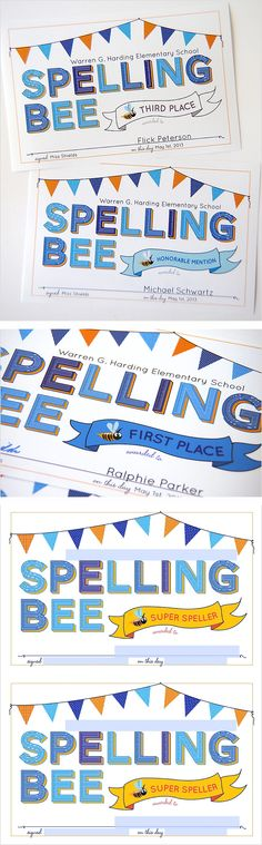 Cute Printable Spelling Bee Certificates. They've got fields so you can add your own school name, etc. The participation awards are free!