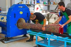 We have specialized equipment for our rug cleaning process. As a final step most rugs are centrifuged to remove excess water and traces of soil or cleaning agents. Would you like to see what we do? Just ask and we will give you a tour of our facilities.