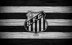 Download wallpapers Santos, 4k, Brazilian Seria A, logo, Brazil, soccer, Santos FC, football club, wooden texture, FC Santos
