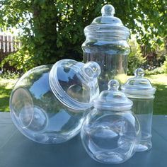 We should find some cute plastic jars like these to fill with crayons and toys