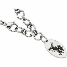 """Stainless Steel Detroit Lions NFL Football Team Logo Dangle Link Bracelet 8"""" The Men's Jewelry Store. $77.99. 316L Stainless Steel is Gentle on Sensitive Skin and is Hypoallergenic. NFL Officially Licensed Logo Team Name and Mascot for Detroit Lions Fans. A Beautiful and Elegant Way to Show Your Devotion. Detroit Lions are Sharp in Black Enamel. Stainless Steel Dangle Link Bracelet with Detroit Lions NFL Football Team Logo"""