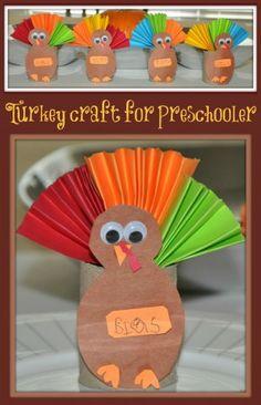 Thanksgiving crafts for kids: Paper roll turkey craft Craft Activities, Preschool Crafts, Fun Crafts, Paper Crafts, Preschool Phonics, Nanny Activities, Thanksgiving Preschool, Thanksgiving Crafts For Kids, Thanksgiving Turkey