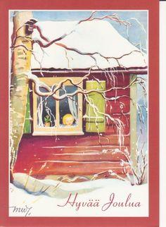 Photo by Joanna Eerola Holiday Cards, Christmas Cards, Through The Window, Martini, Finland, Vintage Art, Illustrators, Fairy Tales, Illustration Art