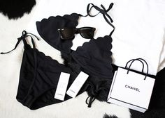 To know more about CHANEL Scalloped Black Bikini, visit Sumally, a social network that gathers together all the wanted things in the world! Featuring over other CHANEL items too! Chanel Fashion, Runway Fashion, Womens Fashion, Classy Fashion, Dark Fashion, Cheap Fashion, Fashion Ideas, Fashion Shoes, Fashion Trends