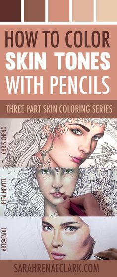 Learn how to color skin tones with colored pencils or markers with these 10 video tutorials. | How to Color Skin Tones | 10 Video Tutorials on Skin Coloring Techniques with Colored Pencils or Markers | Three-part series by Sarah Renae Clark #adultcoloring #tutorial #penciltechniques