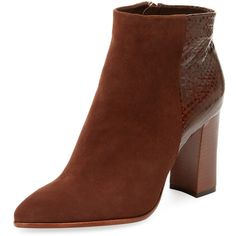 Alexandre Birman Women's Suede & Watersnake Ankle Bootie - Size 6 ($439) ❤ liked on Polyvore featuring shoes, boots, ankle booties, multi, high heel ankle boots, pointed toe ankle boots, zipper ankle boots, stacked heel booties and pointy-toe ankle boots