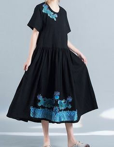 Women loose fit over plus size ethic dragon embroidered dress linen tunic skirt #Unbranded #dress #Casual