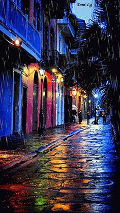 city night rain palm trees painted doors