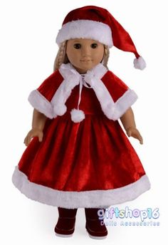 Doll Clothes Fits American Girl Dolls Santa/christmas Dress Outfit Gift for sale online American Doll Clothes, Baby Doll Clothes, Doll Clothes Patterns, Doll Patterns, Sewing Patterns, Christmas Suit, Christmas Clothes, Christmas Outfits, Christmas Sewing
