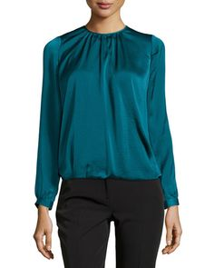 Vince Cross-Front Draped Blouse, Petroleum New offer @@@ Price :$295 Price Sale $179.5