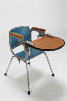 Children's Chair with desk Writing, drawing, homework. Metal frame, leather seat, wooden desk. Children