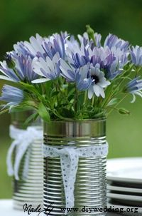 recycled can centerpiece