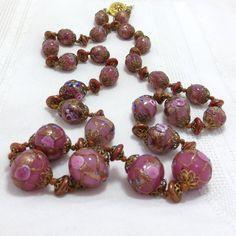 1920s Pink Venetian Glass Bead necklace