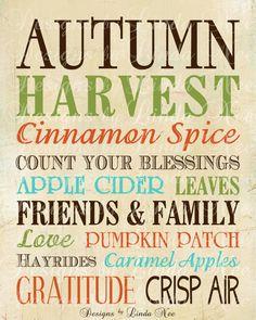 Printable Autumn Fall - Subway Art Wall Printable - You choose one size - 4x6, 5x5, 5x7, 8x8, 8x10, 10x13, 11x14, 12x12, 16x20