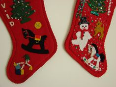 felt stockings - similar to the ones my mom & all the ladies of our church made everyone in the 50's - we still use them & have used the pattern to make all of our kids, spouses & grandkids one too! They all love em!