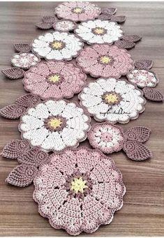 Ideas Crochet Coasters Table Runners Doily Patterns For 2019 Crochet Doily Diagram, Crochet Rug Patterns, Crochet Motifs, Crochet Mandala, Crochet Art, Doily Patterns, Afghan Crochet Patterns, Crochet Home, Crochet Designs