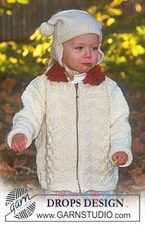 DROPS Children 9-7 - Zipped caridgan and Hat - Free pattern by DROPS Design