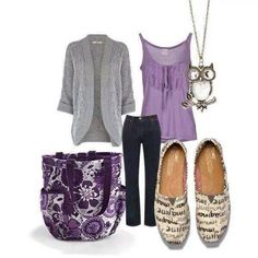 Love this outfit + plus it's purple + the 31 Retro Metro bag(my fav for a purse)