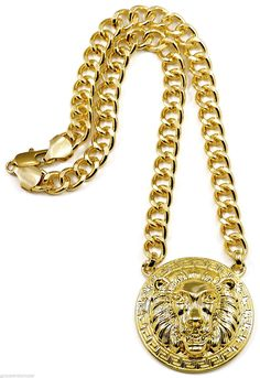 Lion Head New Medusa Style Pendant 18 Inch Necklace 10 mm Link Chain - Lion Jewelry - Ideas of Lion Jewelry Black Gold Jewelry, Gold Rings Jewelry, Coin Jewelry, Jewelry Watches, Male Jewelry, Jewelery, Mens Diamond Jewelry, Fashion Necklace, Fashion Jewelry