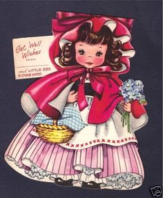 "1949 ""Little Red Riding Hood"" Get Well Paper Doll Card by AG"