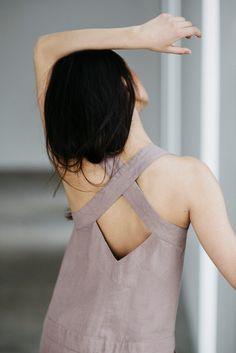 Linen Jumpsuit Motumo 15K5  Very pale purple by MotumoLinen