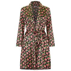 Stella McCartney Lingerie Poppy Snoozing Floral Robe ($370) ❤ liked on Polyvore featuring intimates, robes, bath robes, satin bathrobe, floral robe, satin dressing gown and waist belt