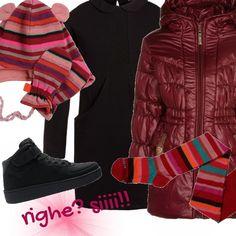 """Per una bimba che ama le righe ed i colori da """"grandi"""", ecco che abbino un piumino lungo quasi un cappottino per stare calde. L'abitino sportivo nero come le sneakers che richiamano un pochino sia la righina delle calze. Il cappellino? Un amore! Non trovate?"""