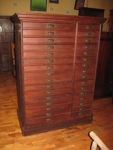 Antique-Mahogany-Finish-Flat-File-Chest-32-Drawers-Architect-Artist-Map-Cabinet