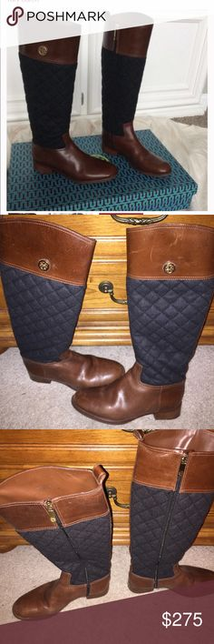 TB Boots. 1st pic Stock photo, others actual Boots Tory Butch Rosalie Riding Boots. Brown Leather w/black quilted legs. In great used condition.  I do not have the original box but I will ship them in a box. Great deal on these. Only worn a few times by my daughter.👢❤️ Tory Burch Shoes Heeled Boots