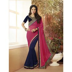 Nevy Blue & Pink Georgette / Jacquard Saree #wedding #festival #bridal #partysaree  #collection #printed #saree #unique #peerless #matchless #wonderful #Special #attractive #beautiful #awesome #gorgeous #glamorous