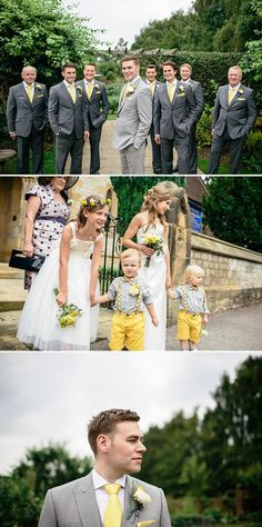 Wedding Suits A Yellow and Grey Rustic wedding in the North oYrkshire countryside Yellow Grey Weddings, Gray Weddings, Yellow Wedding, Spring Weddings, Garden Weddings, Romantic Weddings, Wedding Groom, Wedding Suits, Rustic Wedding