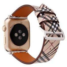 nice TCSHOW For Apple Watch Band 38mm,38mm Soft PU Leather Pastoral/Rural Style Replacement Strap Wrist Band with Silver Metal Adapter for Series 3 Series 2 and Series 1 (Z7)
