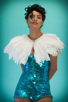 Image of PRISM Collection | FIREBIRD Feather Cape | white